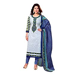 Miraan Womens Cotton Unstitched Salwar Suit Dress Material (Sg403 _White _Free Size)