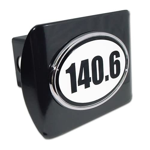 IronMan 140.6 Premium Black Metal Trailer Hitch Cover with White Oval Logo