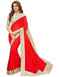 Onlinehub Women'S Georgette Saree With Blouse Piece (Onlinehubredpatta777_Red)