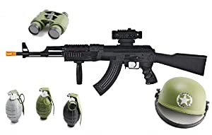 Velocity Toys Realistic AK Toy Gun Package with combat helmet, Magnifying Binoculars COMBO Deal, 3 Realistic sounding and exploding Grenades at Sears.com
