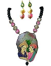 Akshita Creation Multicolour Colour Copper Beads Necklace Set For Women
