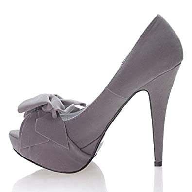 Qupid Women's Shoe With Peep Toe Bow And Platform High Heel- Color: Gray Size: 9