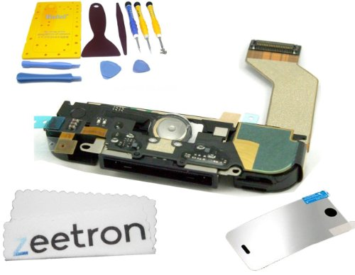 Zeetron Iphone 4S Dock Assembly Replacement Kit (10 Piece Opening Tools + Screwmat + Screen Protector + Zeetron Microfiber Cloth)