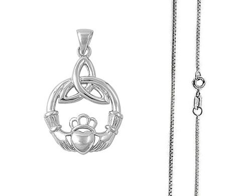 925 Sterling Silver Claddagh Pendant and Necklace Set - Comes with Free Sterling Silver Italian Chain