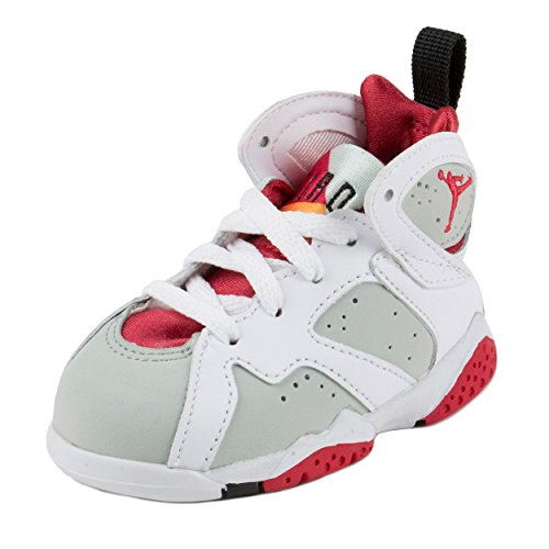 Nike Jordan Toddlers Jordan 7 Retro BT White/True Red/Light Slvr/Trmln Basketball Shoe 8 Infants US