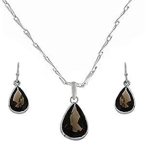 Buy Smokey Quartz Gemstone Jewellery Set Pendant Earrings