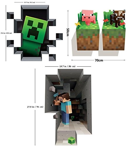 [SUPER Combo MiNECRAFT Wall Decals Digging Steve Creeper Baby Pig Baby Cow Set Of 4 Stickers All 50