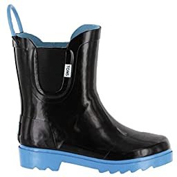 Toms Tiny Toddlers Rain Boot In Black Blue Rubber 7