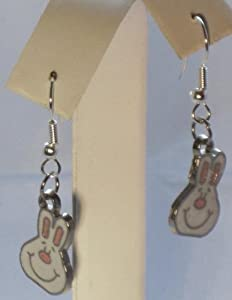 Enamel Easter Bunny Rabbit Novelty Dangle Earrings