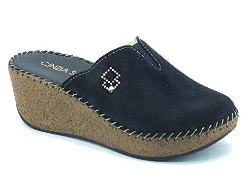 Pantofole per donna Cinzia Soft in camoscio nero zeppa effetto sughero (Taglia 37)