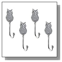 Set of Four - Decorative Hand Cast Aluminum Owl Single Wall Hook | Wall Mounted Hanger | For Clothes, Hats, Keys and More | Polished Finish | With Screws and Anchors
