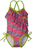 Pink Platinum Girls 2-6X Heather Stripe One Piece Swimsuit