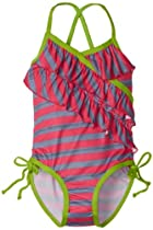 Pink Platinum Girls 2-6X Heather Stripe One Piece Swimsuit, Fuschia, 4