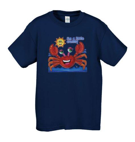 Kids Shirt Fun Crab Short Sleeve Little Crabby Tee - Blue - M