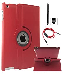 DMG Full 360 Degree Rotating Leather Cover Smart Case for Apple iPad 2/3/4 with Aux Cable with Mic, Stylus, DMG Wristband (Red)