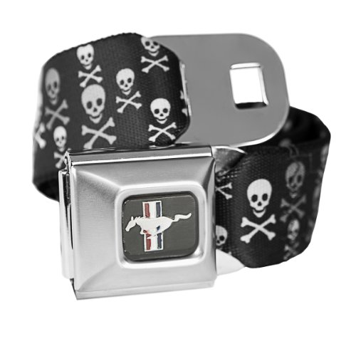 Skull Ford Mustang Seatbelt Buckle Fashion Belt - Officially Licensed