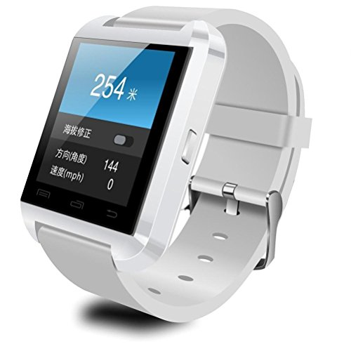 Bluefinger Bluetooth Smart Wristwatch U8 U Watch For Smartphones Ios Android Apple Iphone 4/4S/5/5C/5S Android Samsung S2/S3/S4/Note 2/Note 3 Htc Sony Blackberry White