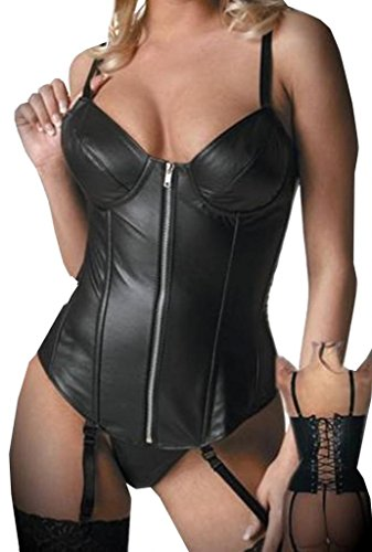 Senchanting Damen Corsage Sexy Schwarz Kunst Leder Reißverschluss Korsett Butier mit Strape Taille Mieder