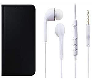 Novo Style Premium PU Leather Quality Black Flip Cover+ Earphone / Handsfree with 3.5mm jack For Oppo Neo 5