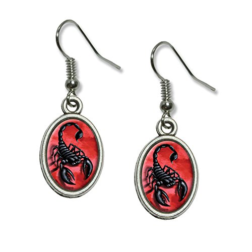 Graphics and More Scorpion on Red - Bug Insect Venom Poisonous Novelty Dangling Drop Oval Charm (Womens Poisonous Costume)