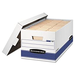 Stor/File Storage Box, Legal, Locking Lid, White/Blue, 4/Carton, Sold as 4 Each