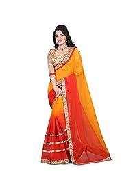 shreepati sarees Orange Chiffon Embroidered Work Party Wear Saree (SS03_Orange)