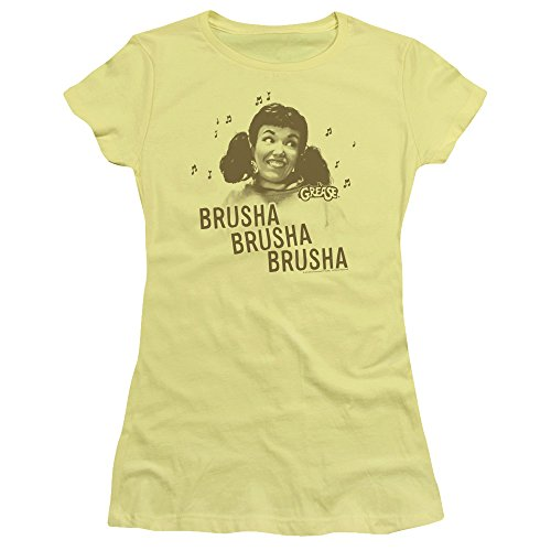 Grease Movie Brusha Brusha Brusha Juniors Sheer T-Shirt Tee (Grease 2 Pink Ladies)