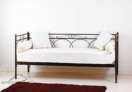 Canapé lit en fer forgé avec sommier en bois de hêtre Tosca bleu ciel