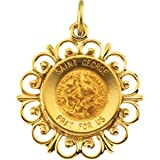 14K Yellow Gold Round St George Pendant Medal