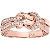 10k Rose Gold Diamond Twist Knot Ring