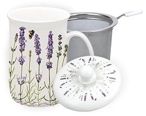 Ashdene I Love Lavender Bone China 3 Pce infuser 11-Ounce Mug Set in Gift Box from Ashdene