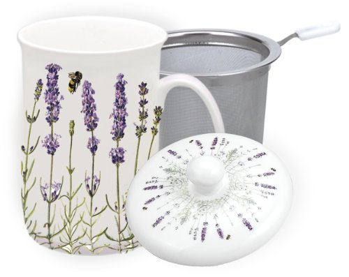 Best Review Of Ashdene I Love Lavender Bone China 3 Pce infuser 11-Ounce Mug Set in Gift Box