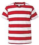 UnitedAthle(ユナイテッドアスレ) 5.0ozボールドボーダーTシャツ半袖 《7colors》 レッド/ホワイト L