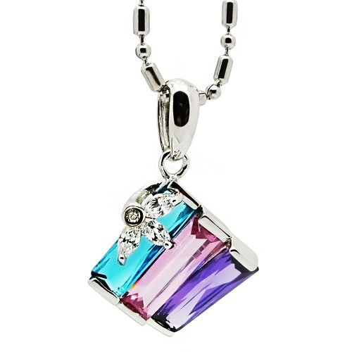 Tungsten Love Square Multi-Colored Cubic Zirconia Pendant Necklace In 100% Sterling Silver
