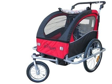 "Booyah ""Swivel"" 3In1 Double Baby Bicycle Bike Trailer & Jogger Red Noorxh"