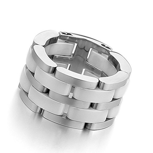 Men'S Stainless Steel Ceramic Ring Band Silver White Hollow Openwork Links Polished Unique Size10