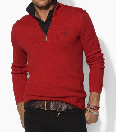 Polo Ralph Lauren Mens Cotton Half Zip Jumper Sweater in Red (X-Large)
