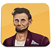 Abraham Lincoln Wooden Coaster - Pop Art Modern Contemporary Decorative Art Coaster, Hipstory Project By Amit...
