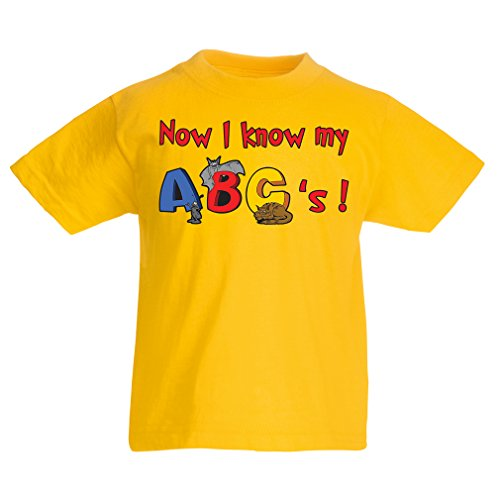 kinder t shirt das alphabet abc lied geschenke f r kinder 7 8 years gelb mehrfarben. Black Bedroom Furniture Sets. Home Design Ideas
