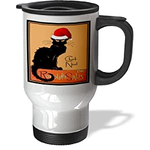tm_47077_1 Taiche - Vintage Posters - Christmas - Le Chat Noel - advertising, art nouveau, black cat, cat, cats, chat noir, le chat - Travel Mug - 14oz Stainless Steel Travel Mug