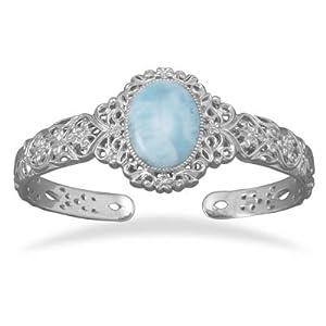 Larimar Cuff Bracelet Blue Atlantis Stone Filigree Sterling Silver