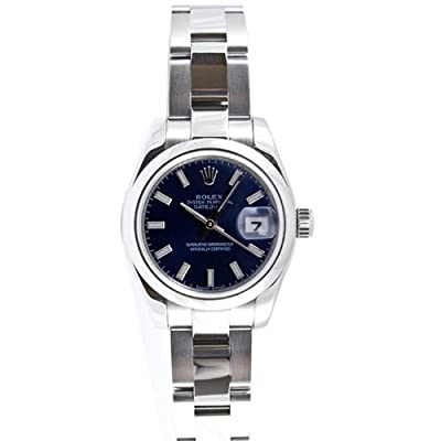 Rolex Ladys 179160 Datejust Stainless Steel Oyster Band, Smooth Bezel & Blue Stick Dial