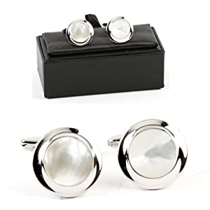 Rhodium Plate Cufflinks Round Mother-of-Pearl Gift Boxed