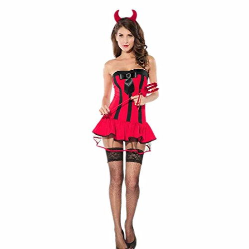 Dear-Lover Dress Adult Devilish Hottie Halloween Costume Red Free Size