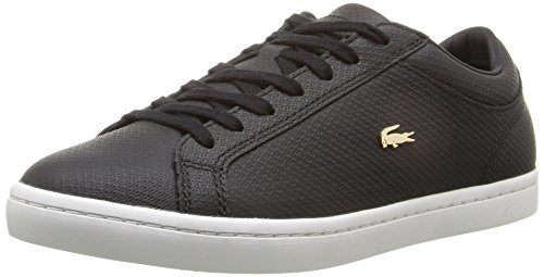 Lacoste Women's Straightset 316 1 Caw Fashion Sneaker, Black, 8.5 M US