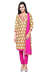 Kanchnar Women's Beige and Pink Mix Cotton Printed Casual Wear Dress Material,Navratri Festival Clothing Diwali Gift,Great Indian Sale
