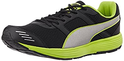 Puma Men's HarbourFashionDP Black, Puma Silver and Lime Punch Running Shoes - 10UK/India (44.5EU)