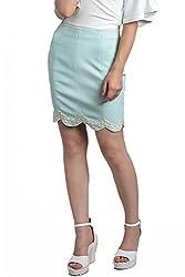 Divaat Blue Scuba Short Skirt For Women