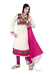 Blissta White Semi Cotton Embroidered Anarkali Dress Material