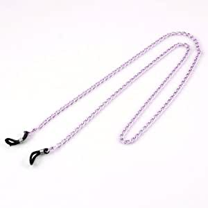 Adjustable Rubber Loop Tip Pink Alloy Twisted Chain Eyeglass Retainer